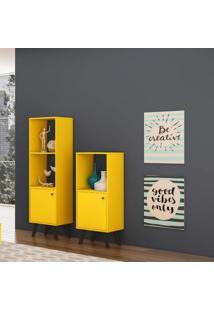 Estante Com 1 Porta Retrô Domus Alta Delmarco Móveis Amarelo