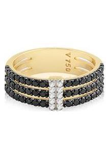 Anel Ouro Amarelo Diamantes Brancos E Diamantes Negros