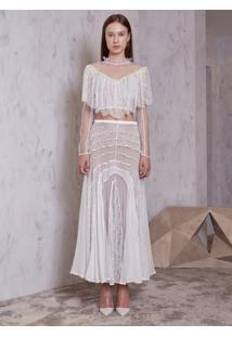 Top Atelier Le Lis Asami Tule Renda Off White Feminino (Off White, 34)