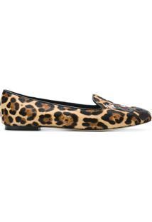 Dolce & Gabbana Sapatilha De Couro Animal Print - Brown