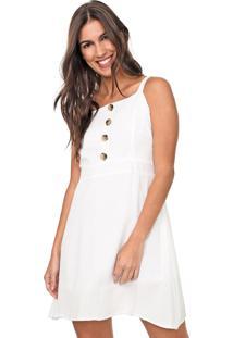 Vestido Queens Paris Curto Botões Off-White