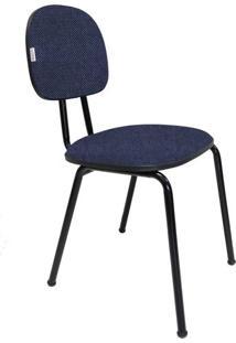 Cadeira De Escritório Palito Secretária Fixa Polo Tecido Azul/Preto