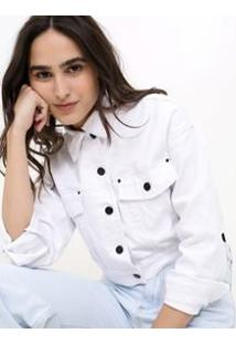 Jaqueta Cropped Em Sarja Branca