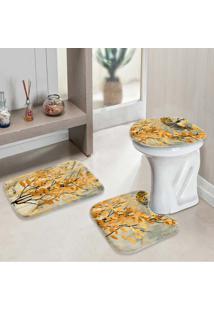 Jogo Tapetes Para Banheiro Flowers Yellow
