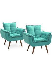 Kit 02 Poltronas Decorativa Opalla Suede Azul Turquesa - Ds Móveis