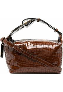 Ganni Crocodile-Effect Shoulder Bag - Marrom