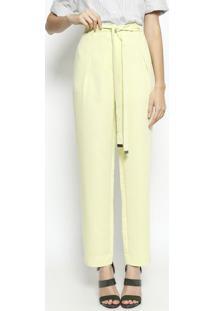 125dc02d1 ... Calça Pantalona Com Pregas- Verde Clarocleo Aidar