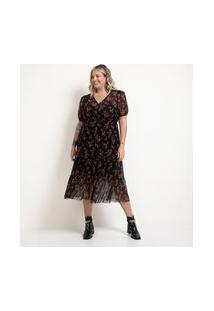 Vestido Midi Em Tule Estampa Floral Com Lastex E Mangas Bufantes Curve & Plus Size | Ashua Curve E Plus Size | Preto | Gg
