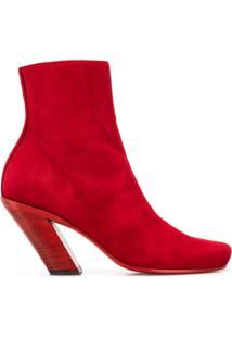 Ann Demeulemeester Tilted Heel Ankle Boots - Vermelho