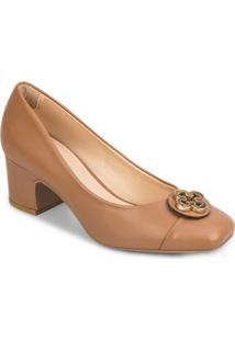 Sapato Tradicional Em Couro Com Recorte - Bege- Saltcapodarte