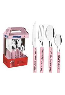 Faqueiro Tramontina My Lovely Kitchen Em Aço Inox 16 Peças Rosa Rosa