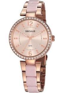 Relógio Seculus Casual Feminino - Feminino-Dourado
