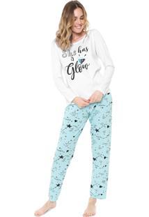 Pijama Malwee Liberta Glow Branco/Azul