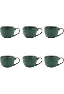 Conjunto De Xícaras Para Café Escamas Verde 90 Ml
