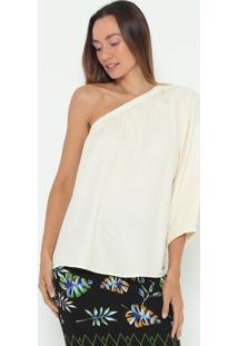 Blusa Ombro Único Lisa- Off White- Colccicolcci
