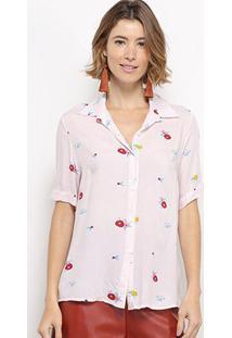 Camisa Manga Curta C & V Collection Xadrez Floral Feminina - Feminino-Rosa