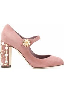 Dolce & Gabbana Sapato Vally Com Aplicação - Rosa