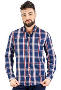 Camisa Norfolk Xadrez Com Bordado Azul Marinho & Vermelha