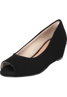 Peep Toe Dafiti Shoes Anabela Preto