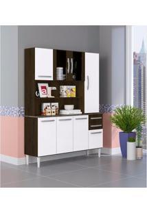 Armário De Cozinha 8 Portas 2 Gavetas 2308 Aramóveis Ravello/Branco