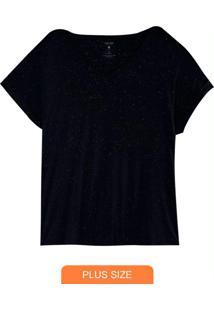 Blusa Preta Botonê Com Decote V Plus