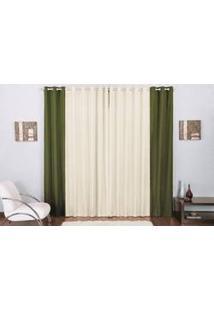 Cortina Lara Clássica Decorativa Para Sala Ou Quarto Em Tecido Malha Palha Com Verde 2,00M X 1,70M P