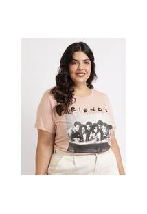 Blusa Feminina Plus Size Friends Manga Curta Decote Redondo Rosa Claro