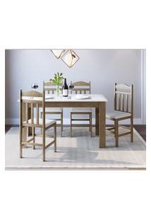 Conjunto Mesa Fixa 4 Cadeiras Ameixa Negra E Branco Lilies