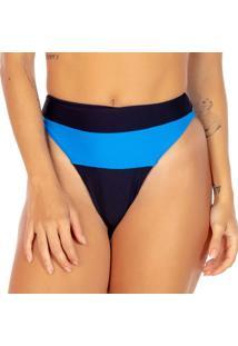 Calcinha Hot Pant Com Recorte - Preta & Azul - Fleeuse Flee