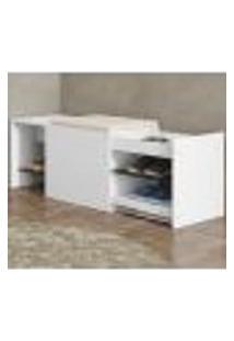Banco | Banqueta Sapateira Com Gaveta 1006 Flow Branco Be Mobiliario