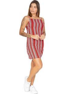 Vestido Le Julie Listrado Feminino - Feminino-Vermelho