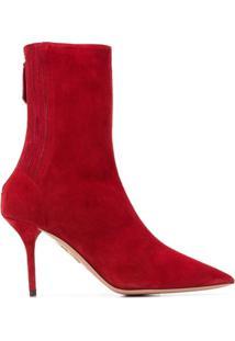 Aquazzura Ankle Boot De Couro E Camurça - Vermelho