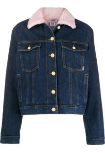 Gcds Jaqueta Jeans Com Patch De Logo - Azul