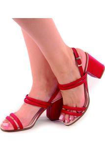 Sandália Rosa Matte Salto Grosso Vermelho Queimado