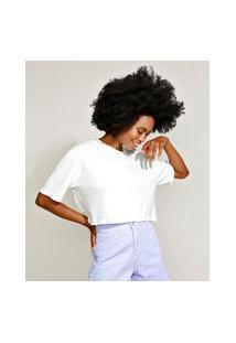 T-Shirt Oversized Cropped De Algodão Manga Curta Decote Redondo Mindset Off White