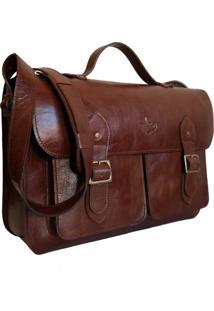Bolsa Line Store Leather Satchel Pockets Grande Couro Marrom Avermelhado. - Kanui