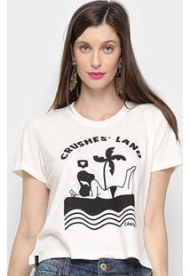 Camiseta Cantão Baby Look Crushes Land Feminina - Feminino-Branco