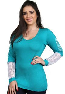 Camisa Galvic Manga Longa Verde Detalhe Tela 9542