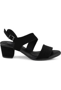Sandália Mr. Cat Assimétrica Royal Comfort Feminina - Feminino-Preto