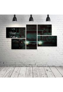 Quadro Decorativo - Car-Urban-Black - Composto De 5 Quadros - Multicolorido - Dafiti