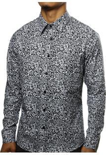 Camisa Camaleão Urbano Floral Arabesco Preta