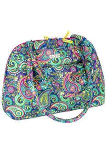 Bolsa Handbag Ana Viegas Tecido Ombro Zíper Espaçosa Feminina - Feminino-Azul Escuro