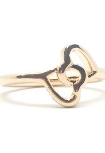 Anel Dois Corações Di Capri Semi Jóias X Ouro Dourado - Kanui