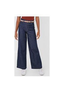 Calça Jeans Colcci Wide Leg Pespontos Azul-Marinho