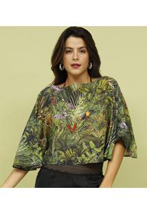 Blusa Com Seda- Verde & Amarela- Mos Beach Wearmos Beach Wear