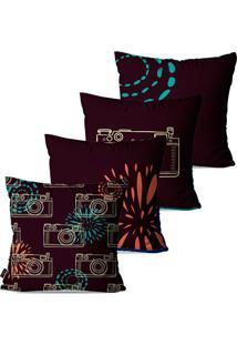 Kit Com 4 Capas Para Almofadas Pump Up Decorativas Roxo Fotografia 45X45Cm