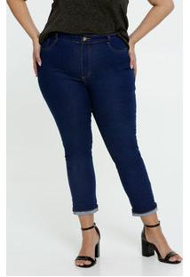 Calça Jeans Cigarrete Barra Dobrada Feminina Plus Size Sawary