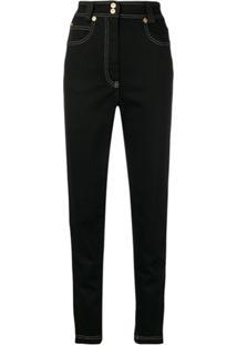 5bbeb4247 R$ 6379,00. Farfetch Calça Algodão Elastano Jeans Reta Slim Skinny Cintura  Alta Zíper Feminina Giani Versace ...