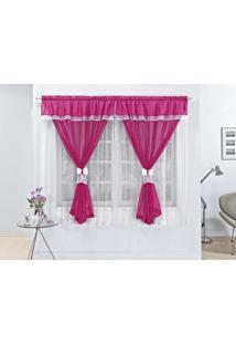 Cortina Vitória Para Varão Simples 2M Pink Rose Jordao
