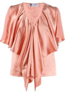 Lanvin Blusa Drapeada Com Decote V - Rosa